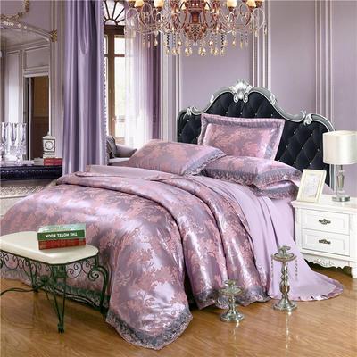 2019款全棉13372天丝莫代尔提花四件套 床单款四件套(1.5m-18m床) 幸福相伴-紫咖