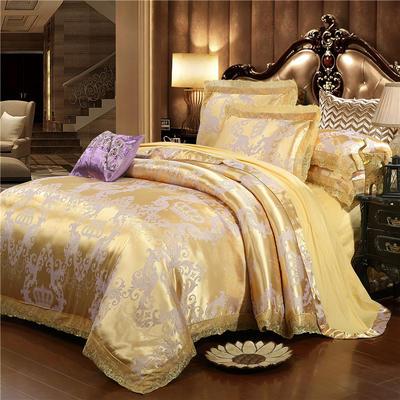 2019款全棉13372天丝莫代尔提花四件套 床单款四件套(1.5m-18m床) 再回首-金黄