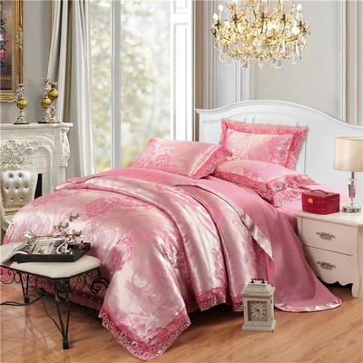 磨毛天丝莫代尔提花四件套 标准(1.5-1.8米床) 花间飞舞-樱桃红