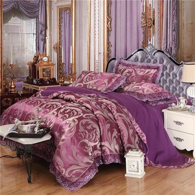 磨毛天丝莫代尔提花四件套 标准(1.5-1.8米床) 普罗旺斯-紫色