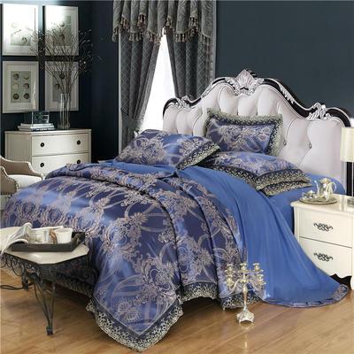 磨毛天丝莫代尔提花四件套 1.2米床(三件套) 天空之城-梦幻蓝