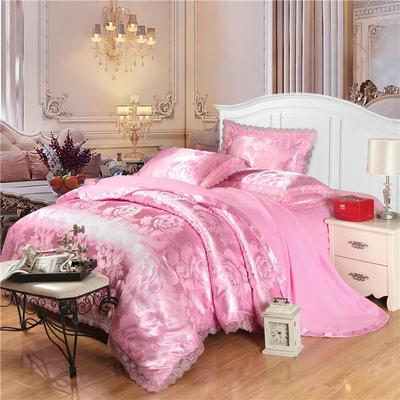 磨毛天丝莫代尔提花四件套 标准(1.5-1.8米床) 紫韵花开-粉红