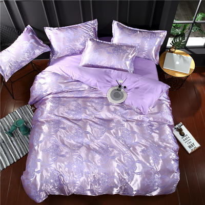 贡缎提花四件套 标准(1.5-1.8-2.0米床适 清风雅致-紫灰