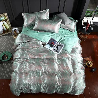 贡缎提花四件套 标准(1.5-1.8-2.0米床适 施华洛-薄荷绿