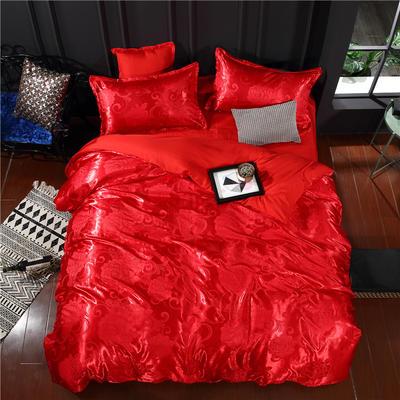 贡缎提花四件套 标准(1.5-1.8-2.0米床适 相伴一生-大红