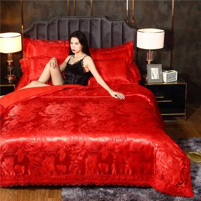 磨毛天丝莫代尔提花四件套 床单款四件套1.5m(5英尺)床 希腊女生(大红)