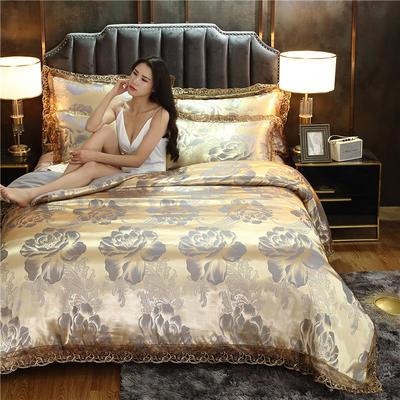 磨毛天丝莫代尔提花四件套 床单款四件套1.5m(5英尺)床 紫韵花开(金属灰)