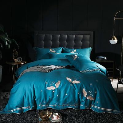 2020新款-全棉60支贡缎长绒棉刺绣款 床单款四件套1.8m(6英尺)床 1天使之吻-黛蓝