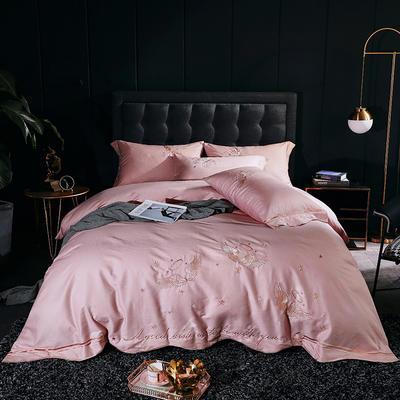 2020新款-全棉60支贡缎长绒棉刺绣款 床单款四件套1.5m(5英尺)床 2天使之吻-芭比玉