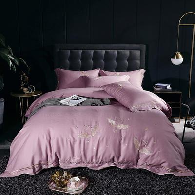 2020新款-全棉60支贡缎长绒棉刺绣款 床单款四件套1.5m(5英尺)床 3天使之吻-米粉色