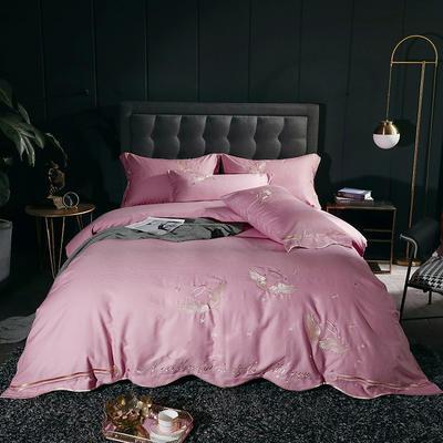2020新款-全棉60支贡缎长绒棉刺绣款 床单款四件套1.5m(5英尺)床 4天使之吻-桃枝粉