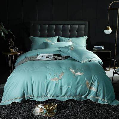 2020新款-全棉60支贡缎长绒棉刺绣款 床单款四件套1.5m(5英尺)床 5天使之吻-宾利兰