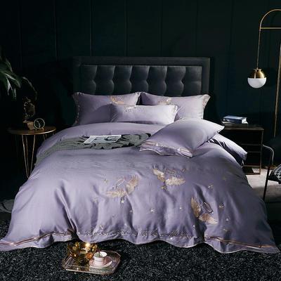 2020新款-全棉60支贡缎长绒棉刺绣款 床单款四件套1.5m(5英尺)床 6天使之吻-紫灰