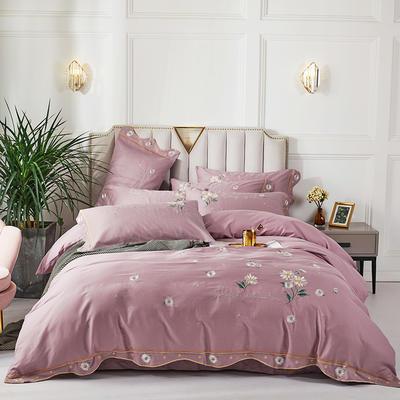 2020新款-全棉60支贡缎长绒棉刺绣款浪漫雏菊四件套 1.8m床单款四件套 3米粉色