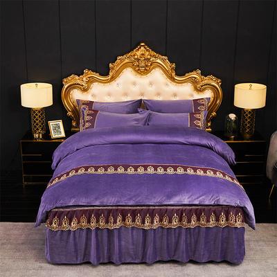 新款-水晶绒床裙款四件套 1.8m床裙款四件套 1紫