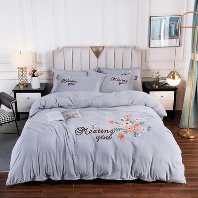 新款-保暖水晶绒牛奶绒毛巾绣四件套 1.5m床单款四件套 半亩花田幻影灰