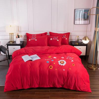 2020新款-保暖水晶绒牛奶绒毛巾绣四件套 1.8m床单款四件套 莱茵春色大红