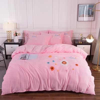 2020新款-保暖水晶绒牛奶绒毛巾绣四件套 1.5m床单款四件套 莱茵春色粉玉