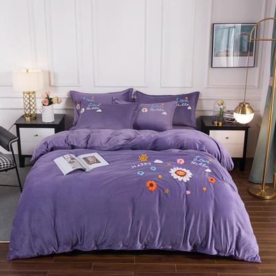2020新款-保暖水晶绒牛奶绒毛巾绣四件套 1.8m床单款四件套 莱茵春色星空紫