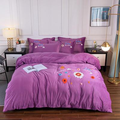 2020新款-保暖水晶绒牛奶绒毛巾绣四件套 1.8m床单款四件套 莱茵春色紫雪青
