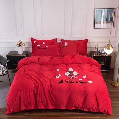 2020新款-保暖水晶绒牛奶绒毛巾绣四件套 1.8m床单款四件套 小雏菊大红