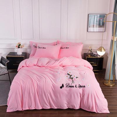 2020新款-保暖水晶绒牛奶绒毛巾绣四件套 1.5m床单款四件套 小雏菊粉玉
