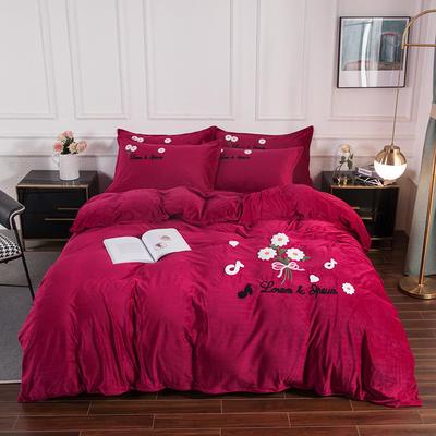 2020新款-保暖水晶绒牛奶绒毛巾绣四件套 1.5m床单款四件套 小雏菊酒红
