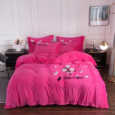 2020新款-保暖水晶绒牛奶绒毛巾绣四件套 1.8m床单款四件套 小雏菊玫红