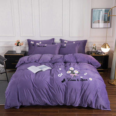 2020新款-保暖水晶绒牛奶绒毛巾绣四件套 1.8m床单款四件套 小雏菊星空紫