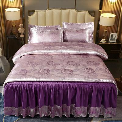 2021新款-床裙款贡缎提花四件套 1.8m床裙款四件套 巴拉花园-银紫