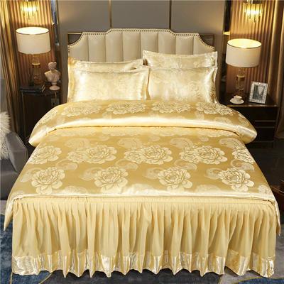2021新款-床裙款贡缎提花四件套 1.8m床裙款四件套 国色天香-金驼