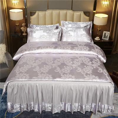 2021新款-床裙款贡缎提花四件套 1.8m床裙款四件套 华丽风范-灰色