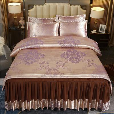 2021新款-床裙款贡缎提花四件套 1.8m床裙款四件套 皇家风范-深豆沙