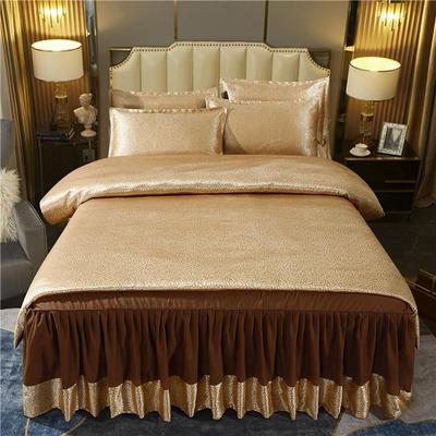 2021新款-床裙款贡缎提花四件套 1.8m床裙款四件套 嘉奢华-金咖