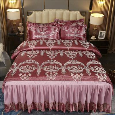 2021新款-床裙款贡缎提花四件套 1.8m床裙款四件套 锦绣情缘-玫瑰红