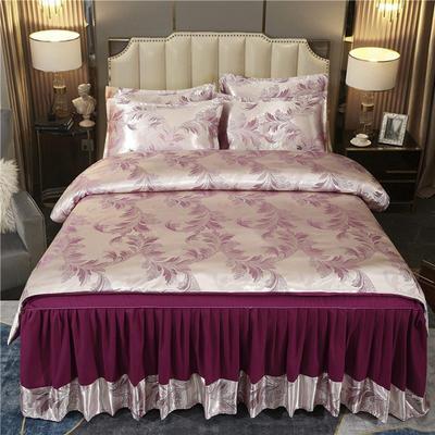 2021新款-床裙款贡缎提花四件套 1.8m床裙款四件套 摩登季节-魅紫