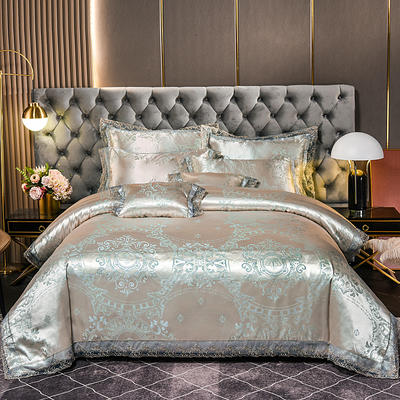2021新款布拉诺蕾丝提花莫代尔磨毛系列四件套 1.2m床单款三件套 巴黎之夜-金绿