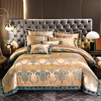 2021新款布拉诺蕾丝提花莫代尔磨毛系列四件套 1.2m床单款三件套 豪庭盛世-金蓝
