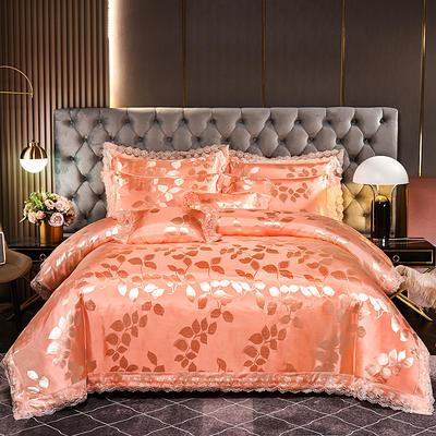 2021新款布拉诺蕾丝提花莫代尔磨毛系列四件套 1.2m床单款三件套 金枝-桔色