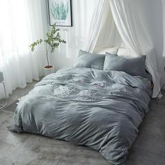 刺绣针织 1.5床笠款 针织刺绣害羞猫  灰色