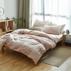 2017天鹅绒四件套 1.2米(床笠款) 粉色配米白