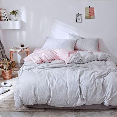 2019新款针织四件套29色 1.2床单款 粉灰细条