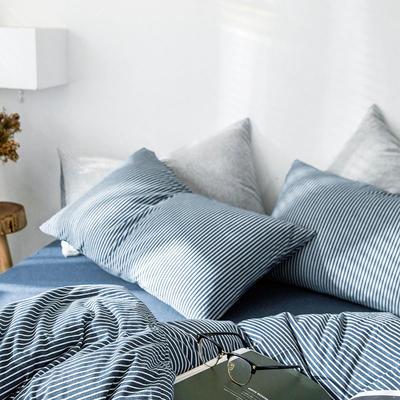 2019新款竖纹针织棉单品枕套 枕套/只 海军蓝竖纹