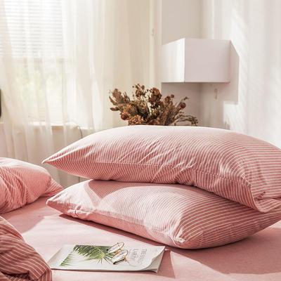 2019新款竖纹针织棉单品枕套 枕套/只 混粉竖纹