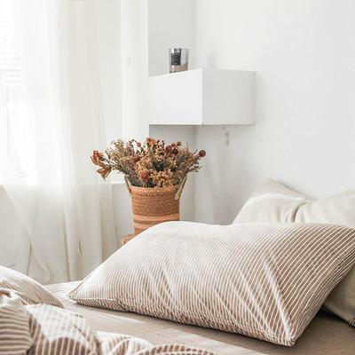 2019新款竖纹针织棉单品枕套 枕套/只 卡其竖纹