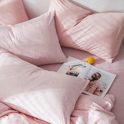 2019新款竖纹针织棉单品枕套 枕套/只 蜜粉竖纹
