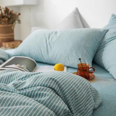 2019新款竖纹针织棉单品枕套 枕套/只 水蓝竖纹