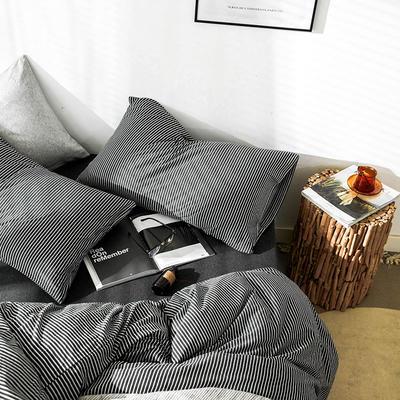 2019新款竖纹针织棉单品枕套 枕套/只 炭黑竖纹