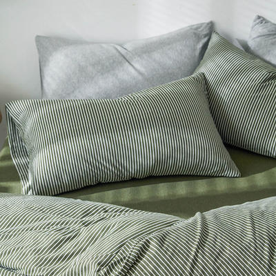 2019新款竖纹针织棉单品枕套 枕套/只 新绿竖纹