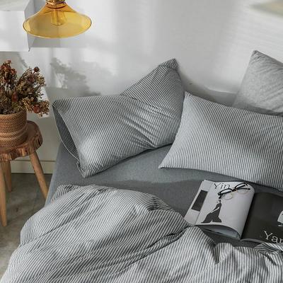 2019新款竖纹针织棉单品枕套 枕套/只 雅灰竖纹